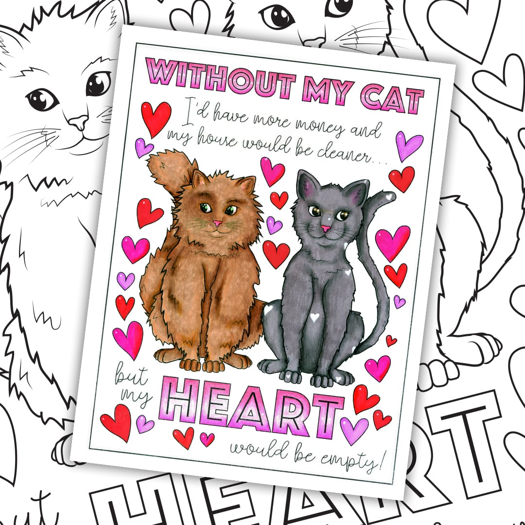 Cut cat coloring page. Colored by Michelle HH