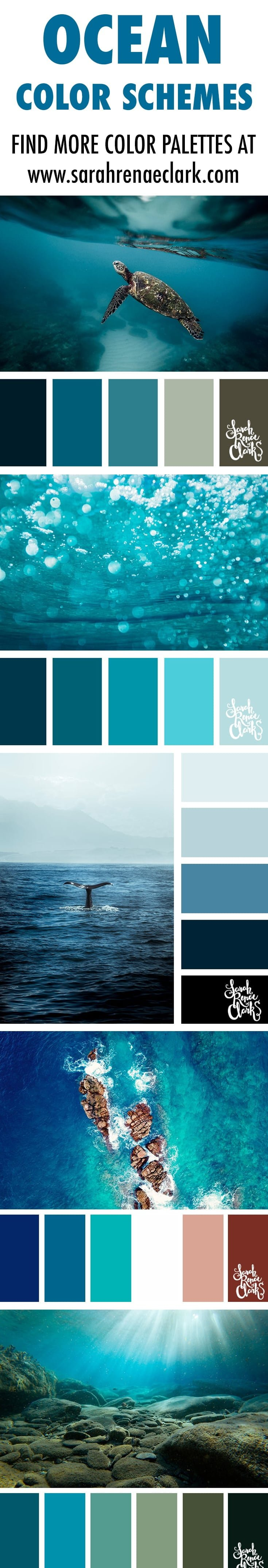 ocean color schemes, color inspiration, color palettes