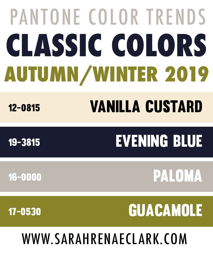 2019 Pantone Color Trend Report - Top Classic Colors for Autumn/Winter 2019-20 include Vanilla Custard, Evening Blue, Paloma and Guacamole.