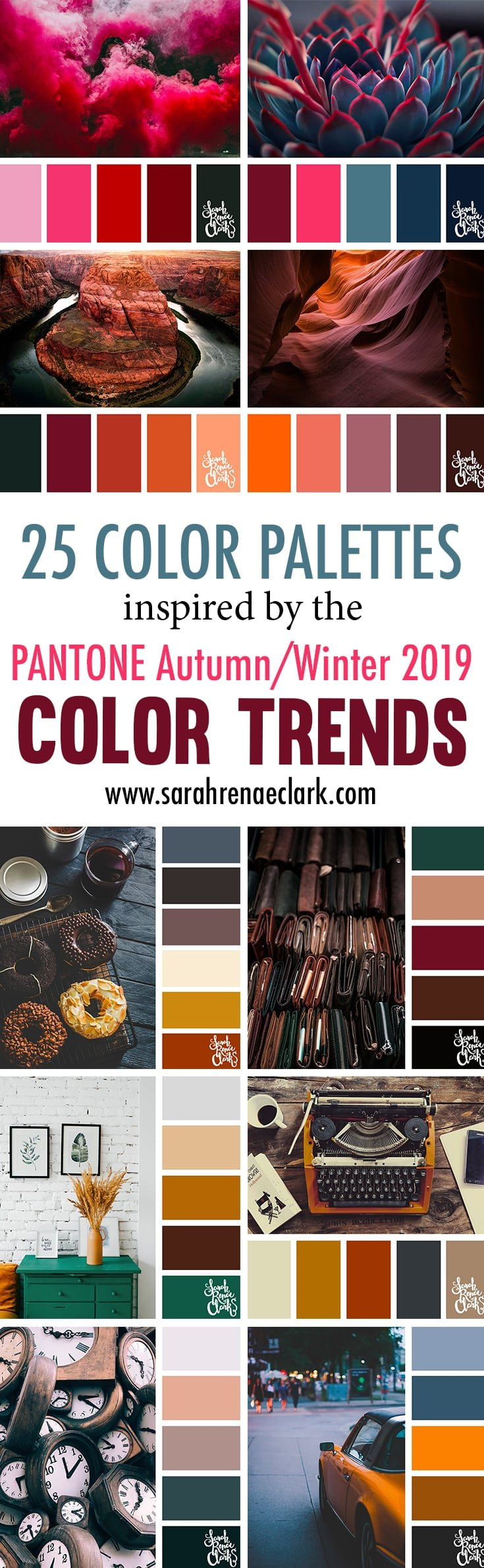 25 Color Palettes Inspired By Pantone Autumn Winter 2019 Color Trends