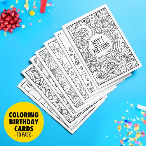 Pack of 10 coloring birthday cards