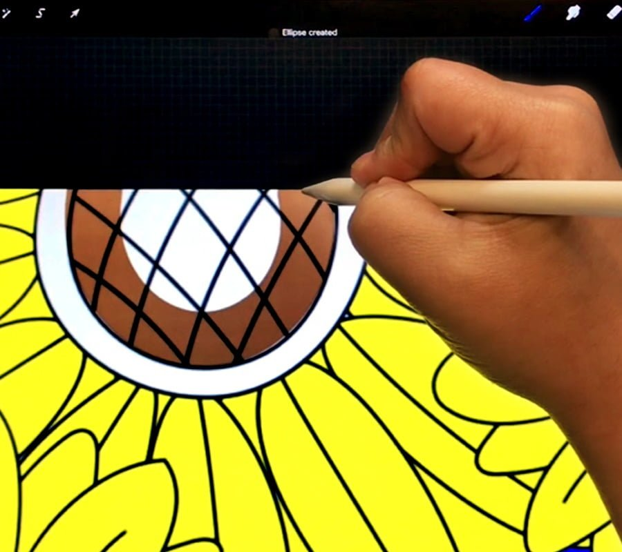 Coloring adult coloring pages using Procreate