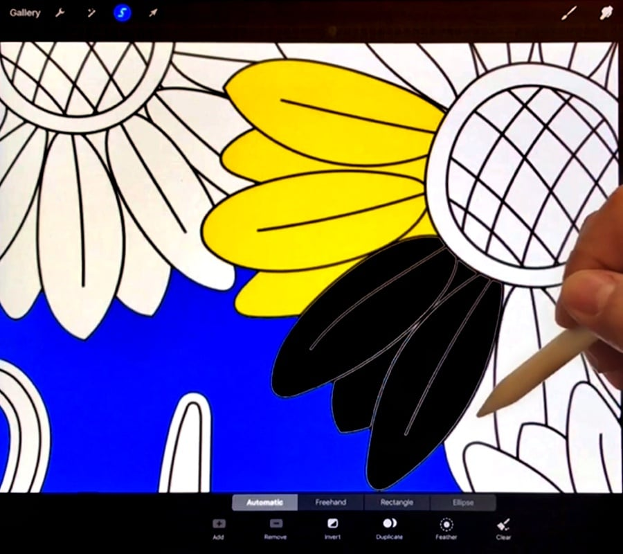 How to color more than one area of your page at the same time in Procreate