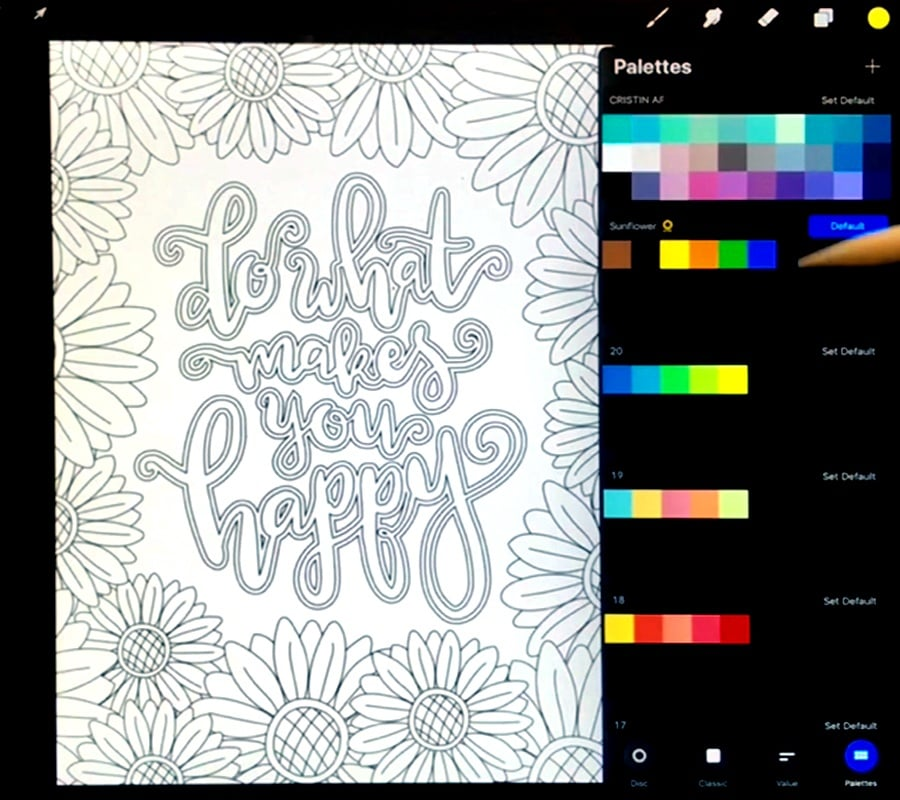 Choosing a color or color palettes in Procreate