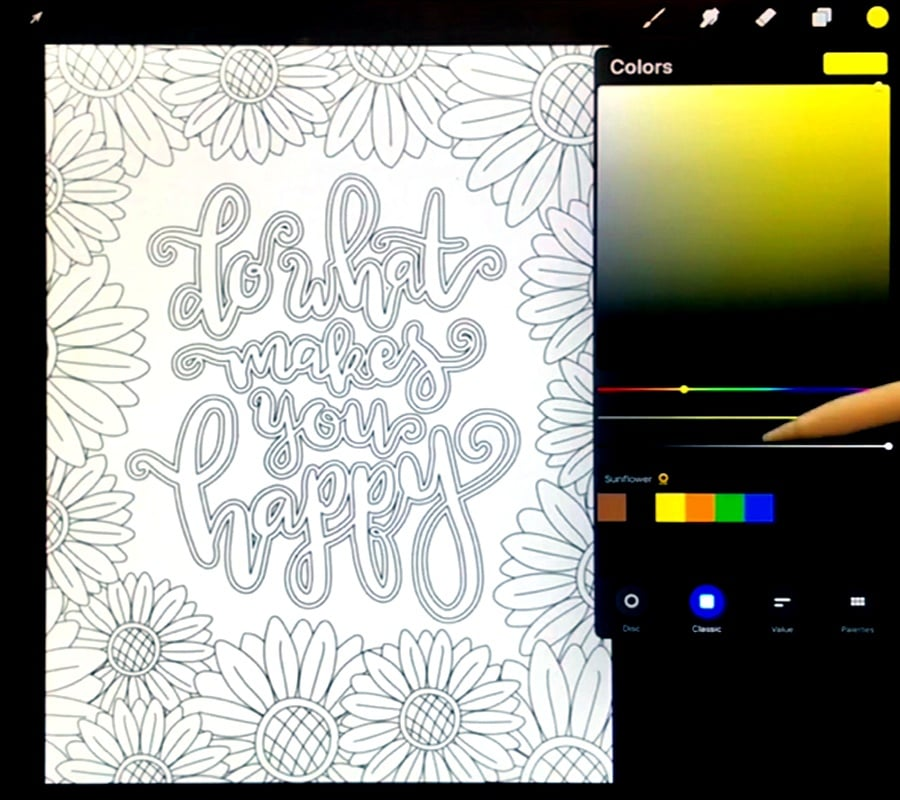 Using a color selection tool to choose a color in Procreate