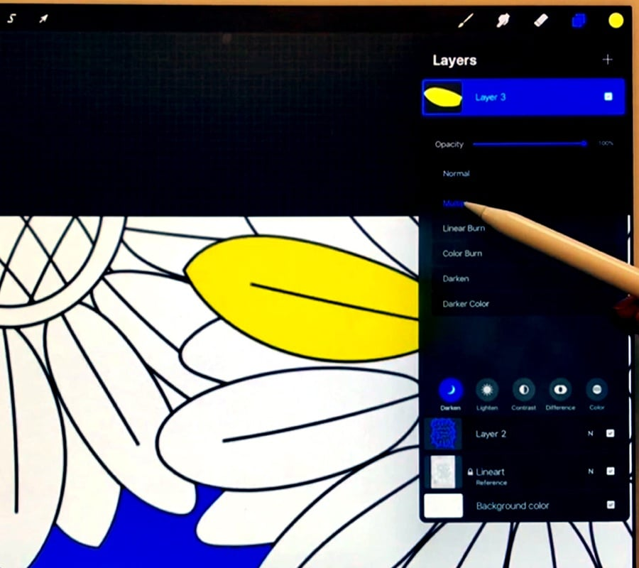 Using blend modes to show the line art of a coloring page