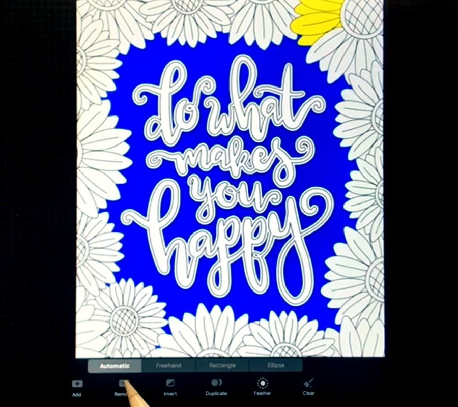 Coloring multiple areas of your page at once in Procreate