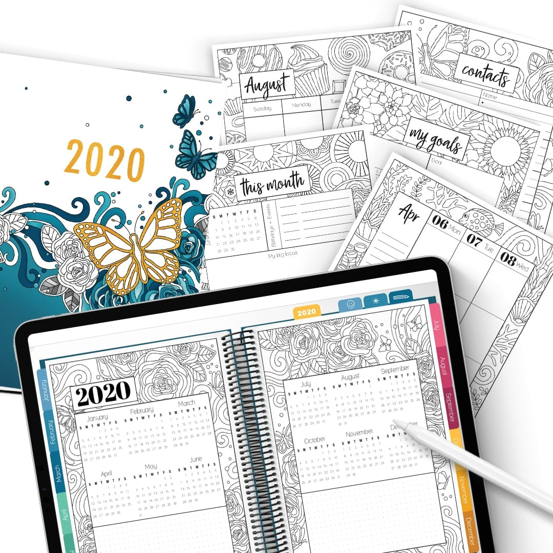 2020 Coloring Planner: Digital & Printable Combo