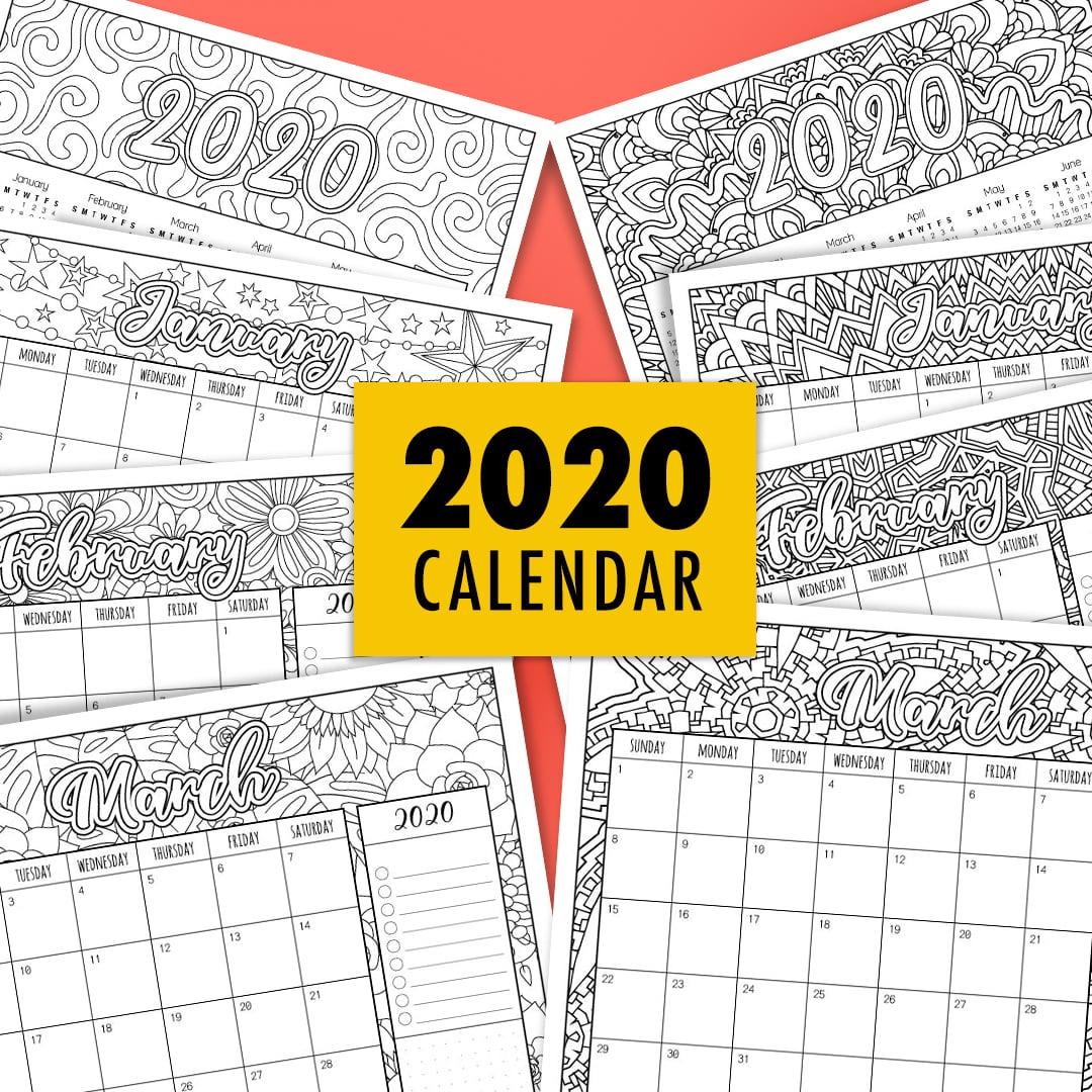 2020 Printable Coloring Calendar
