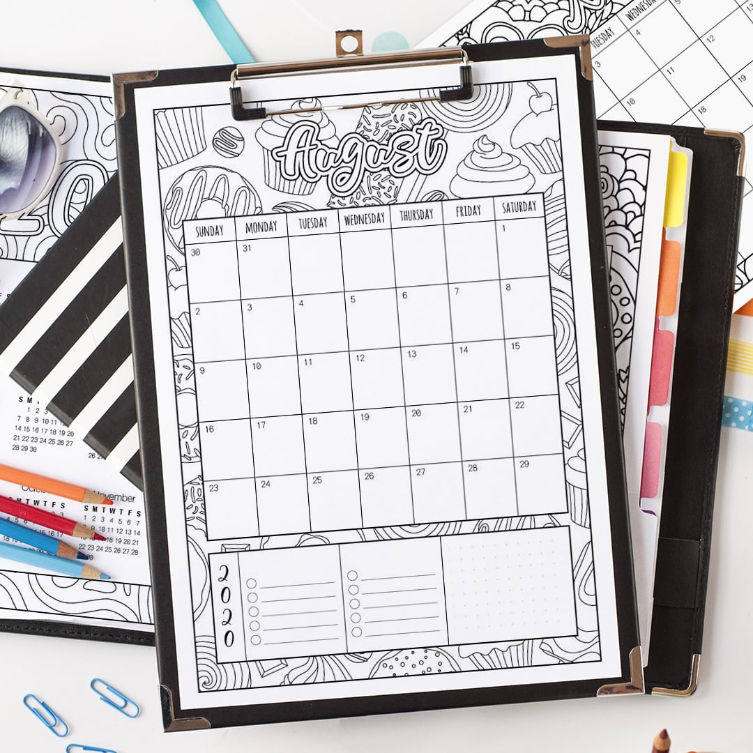 2020 Printable Calendar Coloring Page