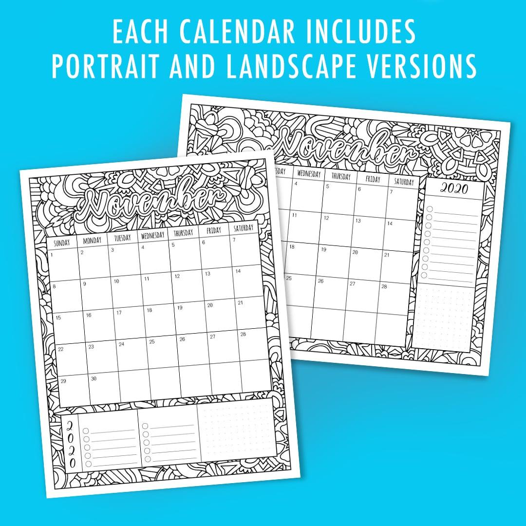 Printable 2020 Coloring Calendar