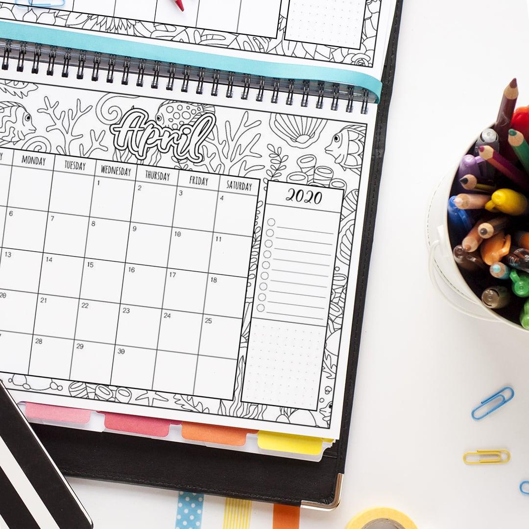 2020 Coloring Planner Calendar