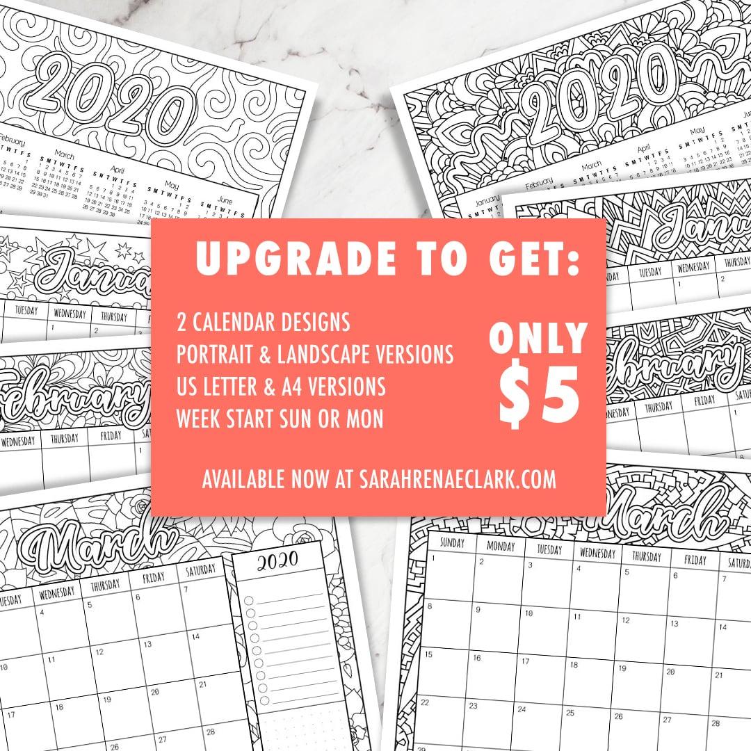 2020 FREE printable coloring calendar
