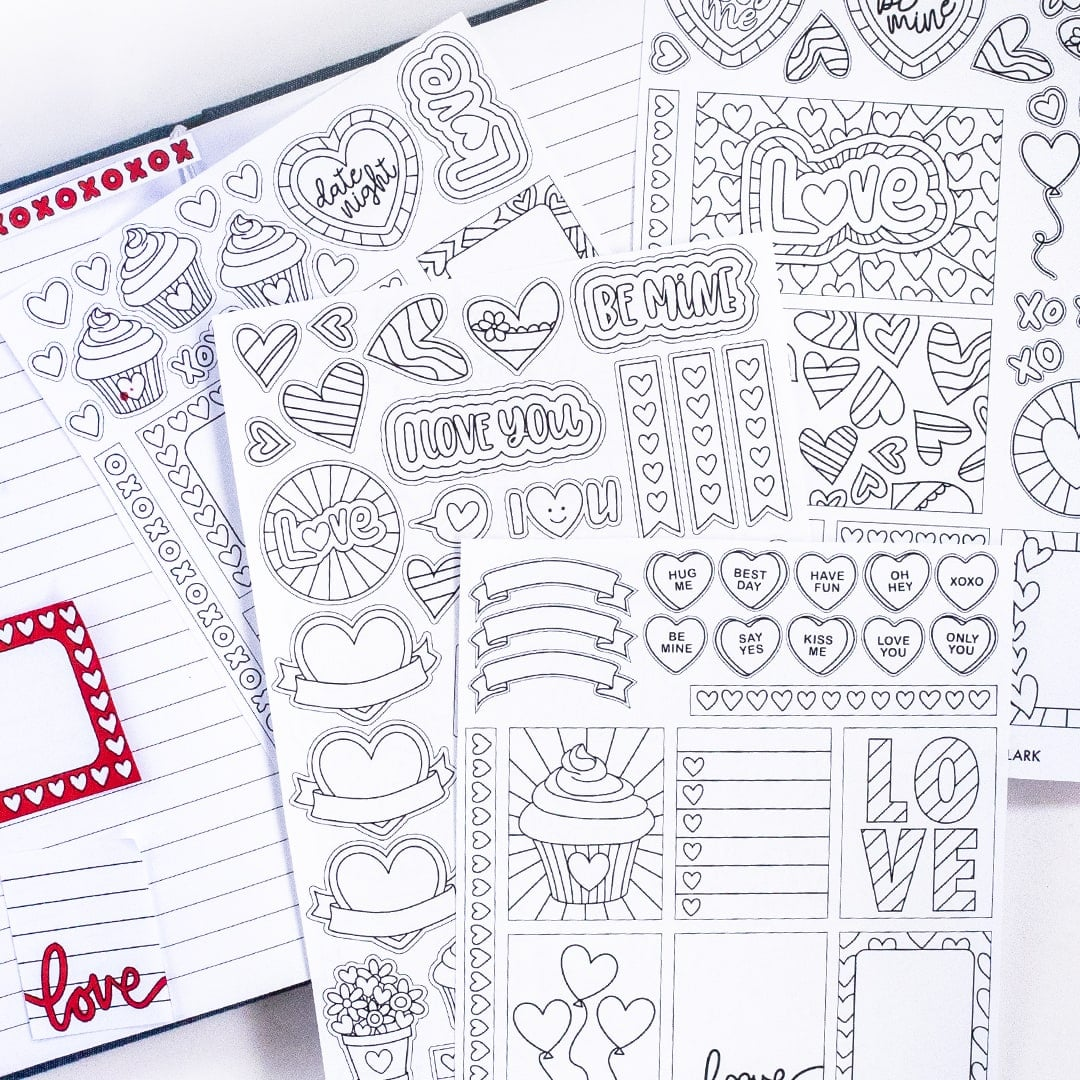 Coloring Printable Valentine's Day Planner Stickers