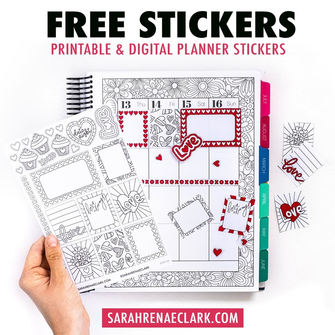 Free Planner Stickers (Printable & Digital) for Valentine's Day