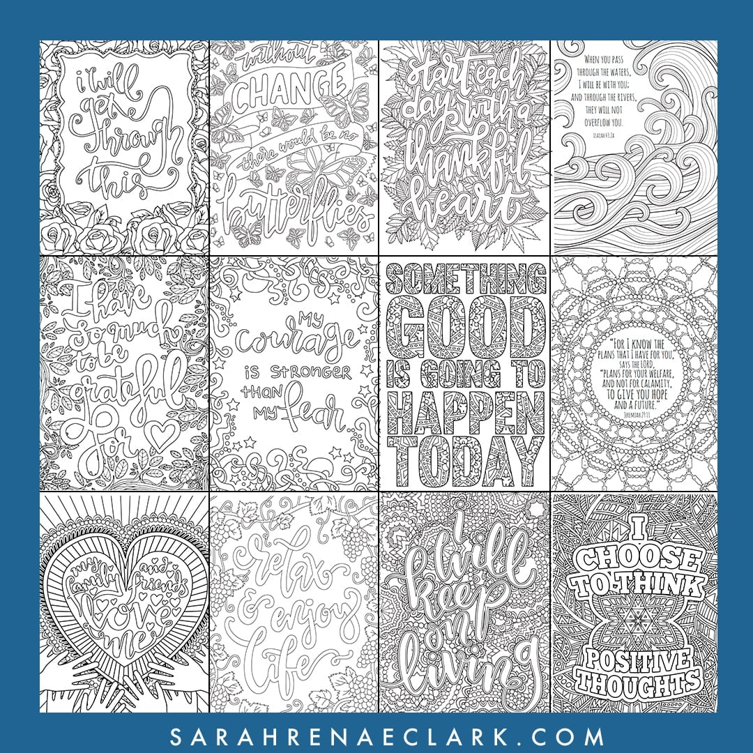 Adult Coloring Pages - Quarantine Collection: Color You Stress Away