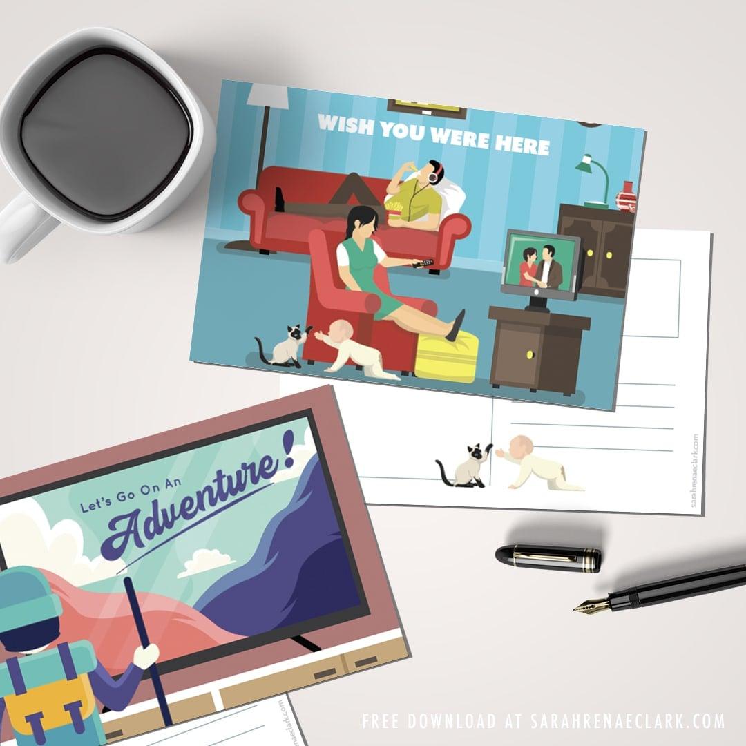 Funny Quarantine postcards free printable