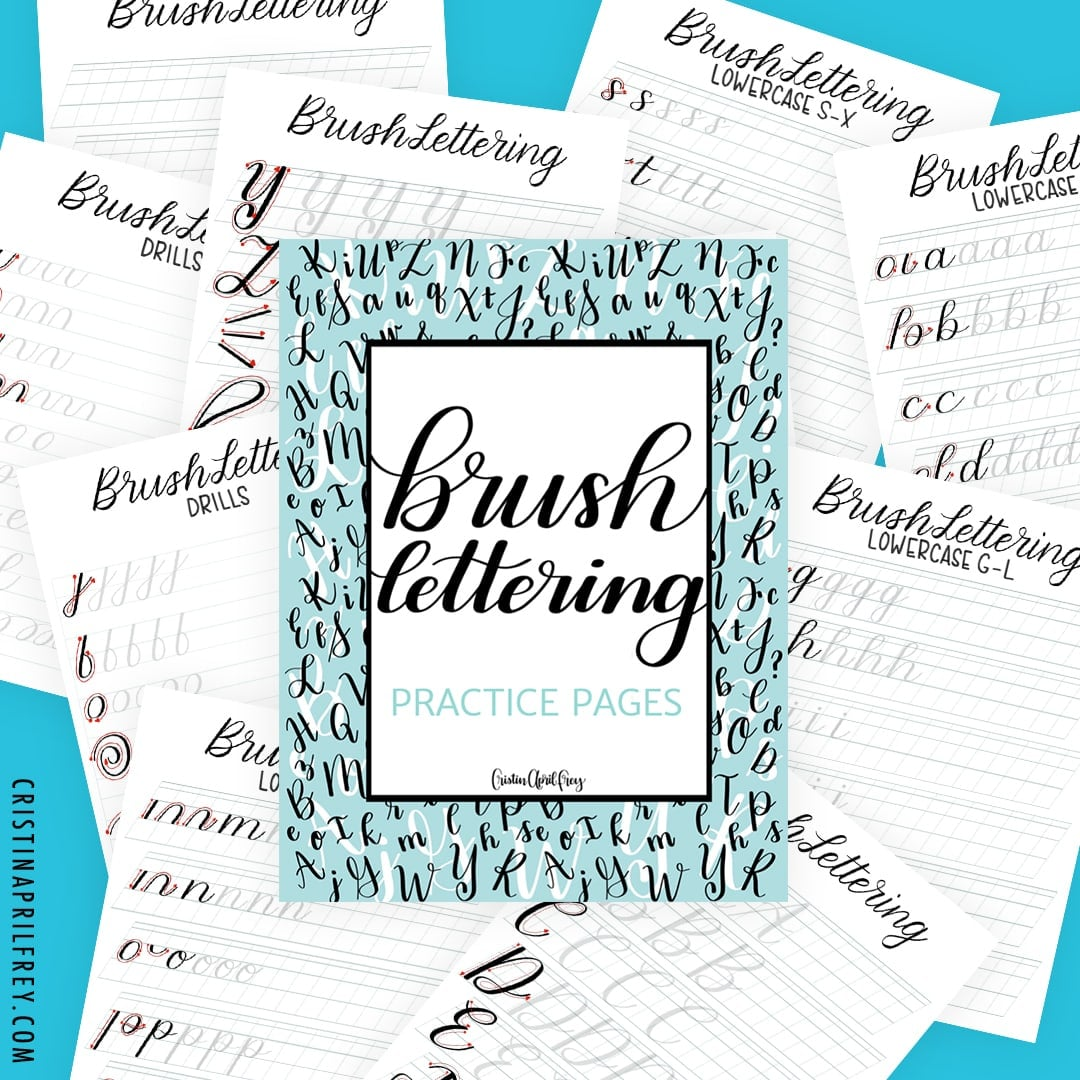 Free brush lettering practice pages