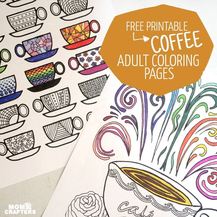 Free coffee adult coloring page printable