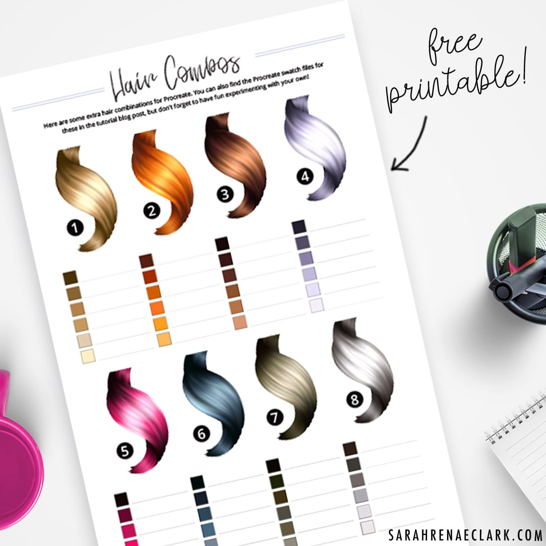 Hair Color Combination - Free Hair Color Swatches Printable