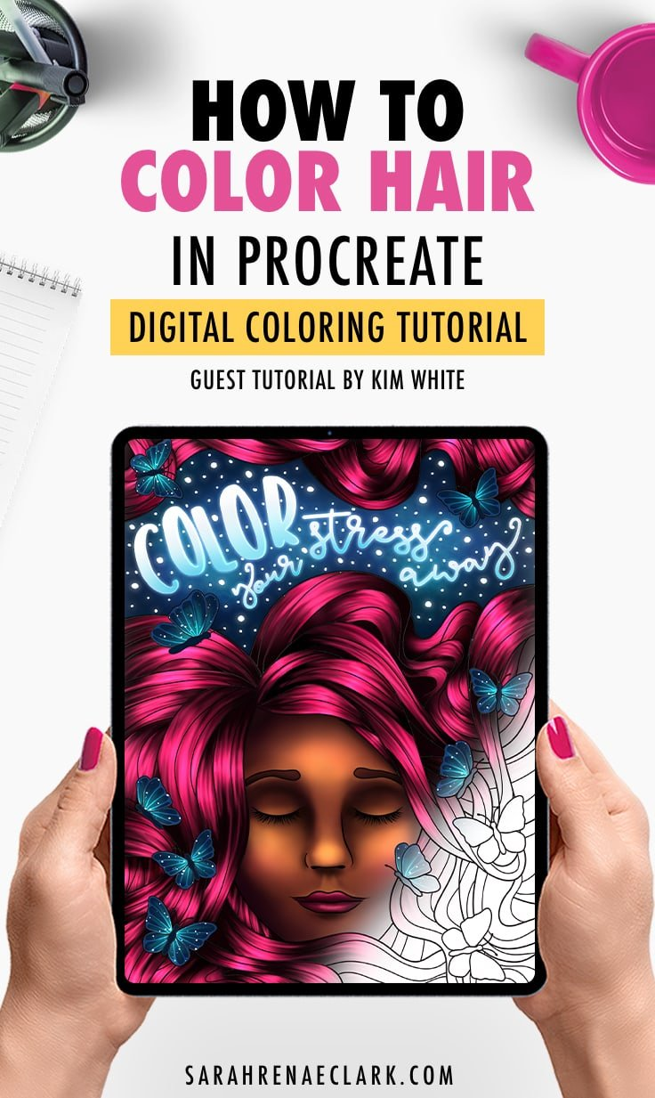 How To Color Hair In Procreate Digital Coloring Tutorial By Kim White