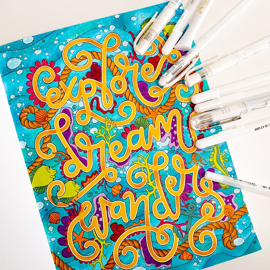 White gel pen highlights on an ocean adult coloring page