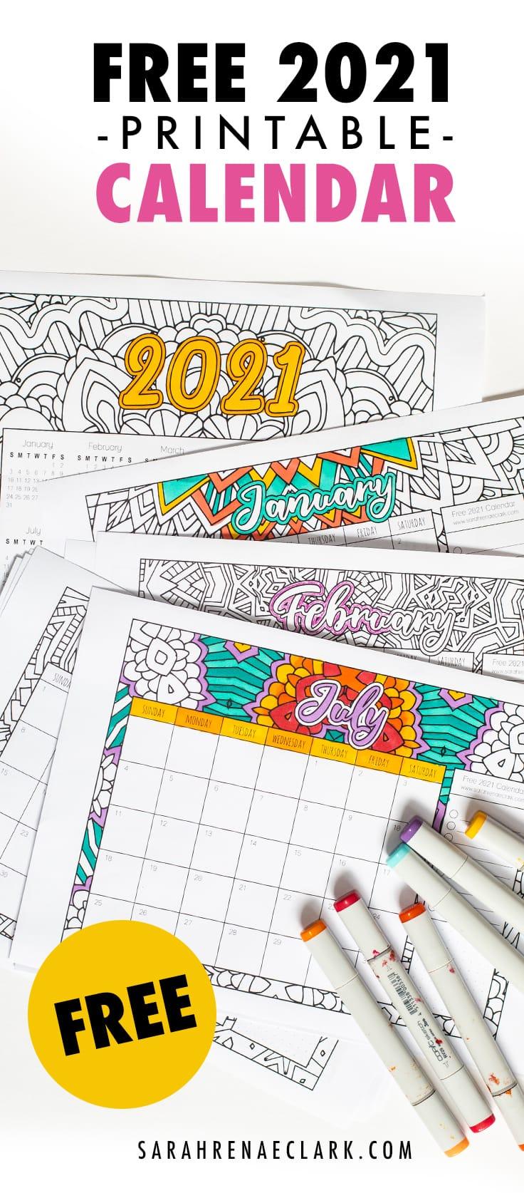 Get a free printable 2021 coloring calendar